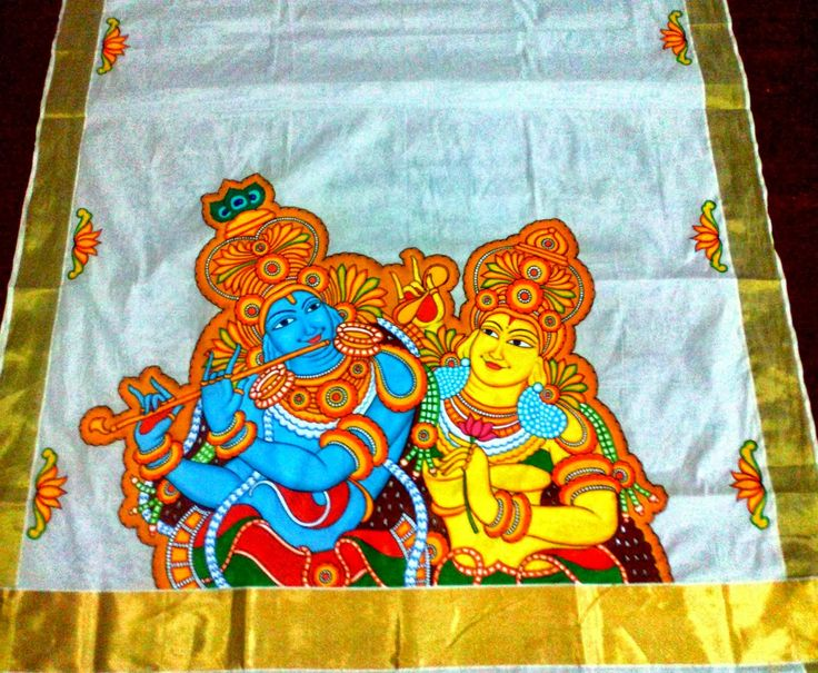 Kerala sarees painting google search fabric mural for Aithihya mural painting fabrics
