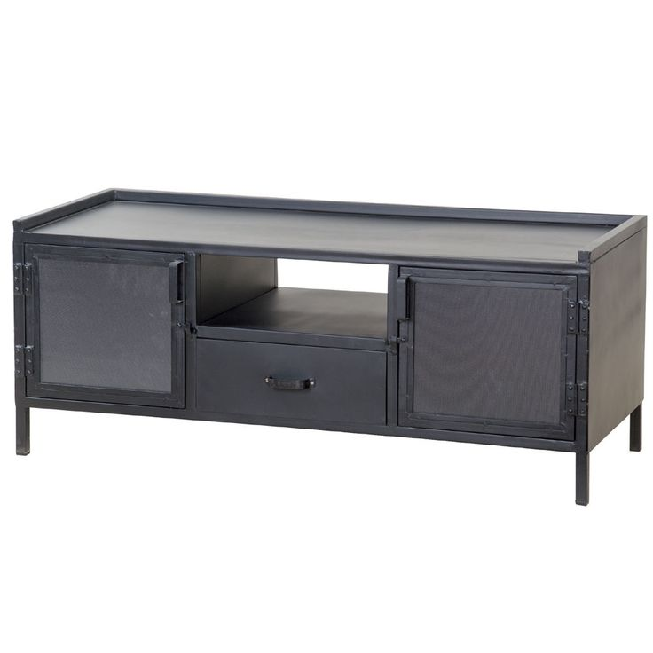 TV Möbel Lowboard TV Board schwarz Industriedesign Metall 2 Türen 1 Schublade