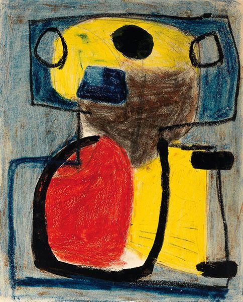 Karel Appel, Personnage, 1947, gouache, crayon et crayon sur papier, 30,5 x 24,8 cm