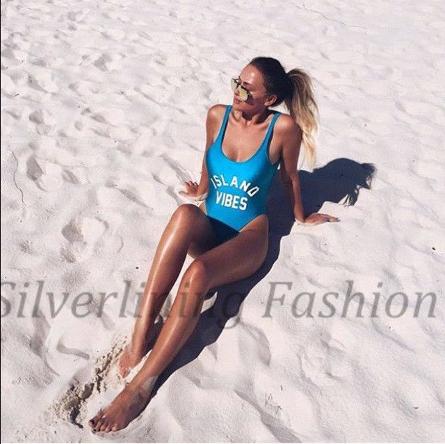 ISLAND VIBES Letter Print Women Swim suit Sexy Low Back High Cut Swimwear Bathing Beachwear Swimsuits One Piece Bodysuit Paded