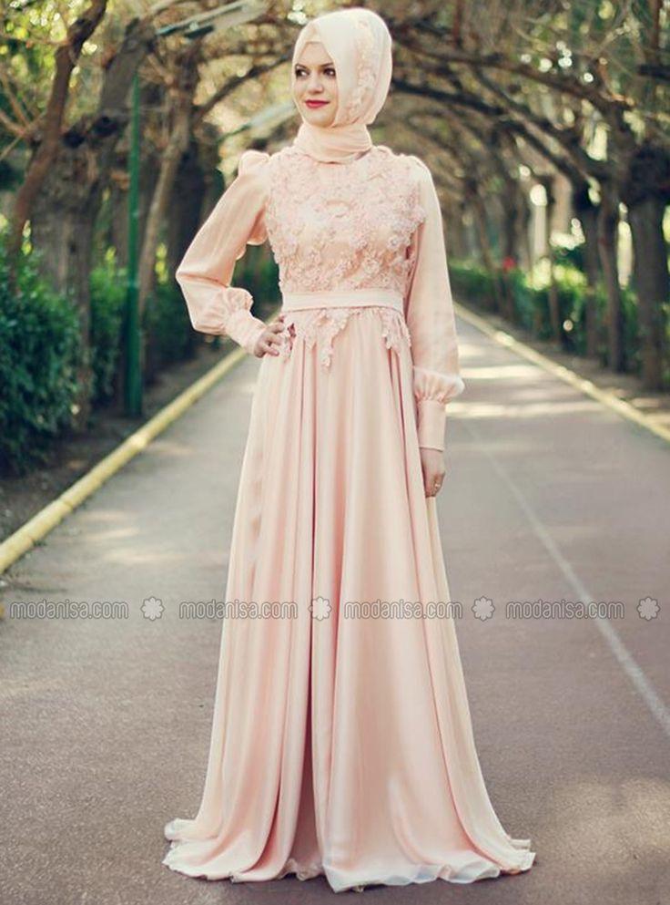 Prenses Abiye Elbise - Toz Pembe - Gamze Polat