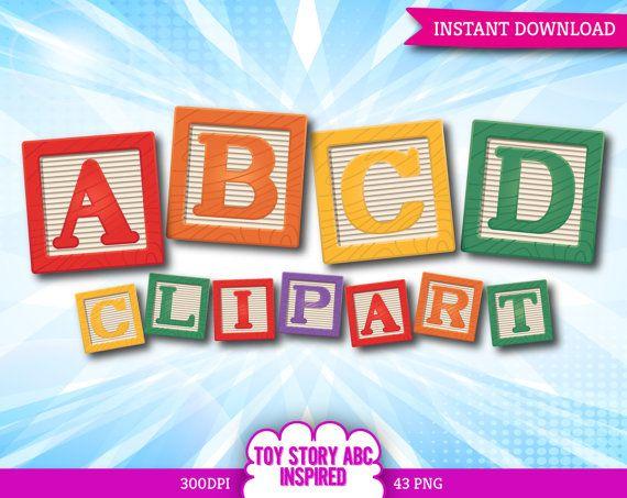 Toy Story Inspired Alphabet Clipart Printable Toy Cube