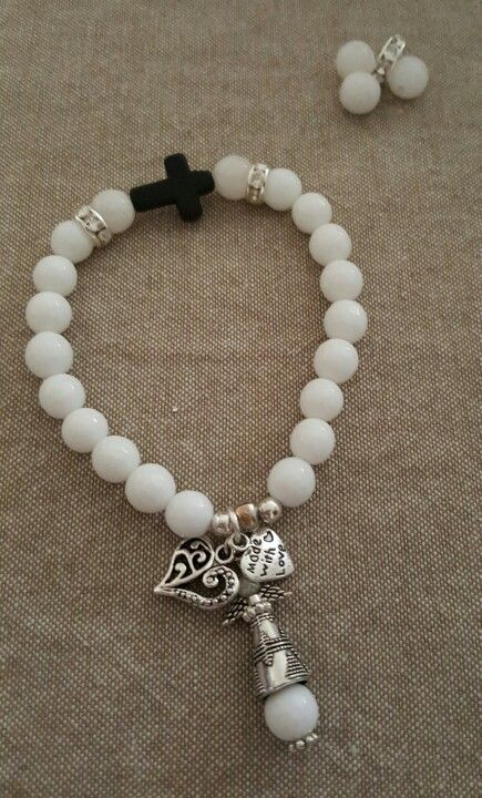 Bracelet white and black with angel