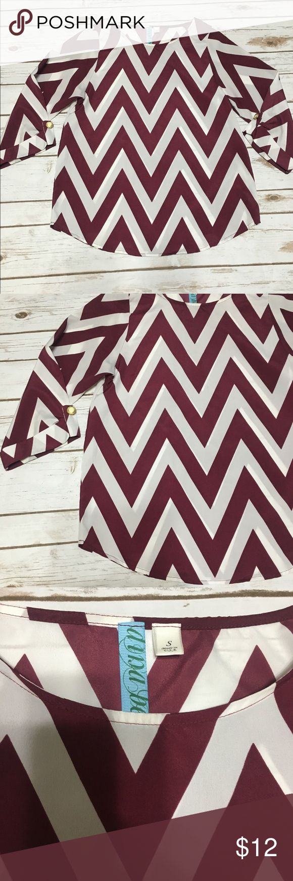 Dina Be White and Maroon Chevron Blouse Dina Be Chevron blouse with rolled sleeves. Cute gold accent buttons. It is somewhat sheer.  Has a small stain that can be seen in the close up but it is hardly noticeable. Otherwise no tears, snags or piling. dina be Tops Blouses