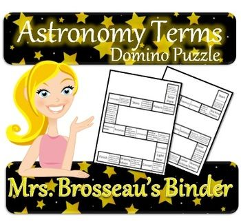 Astronomy Terms - Domino Puzzle (Space Exploration Vocabulary.  Students will practice scientific vocabulary with this FREE domino game.  The terms defined in this puzzle are: Constellation, equinox, solstice, craters, waning moon, waxing moon, solar eclipse, lunar eclipse, solar flare, sunspot, revolution, rotation, geocentric model, heliocentric model, astronomical unit,. light year, comet, asteroid, universe, stars, Polaris, Big Bang Theory and telescope.