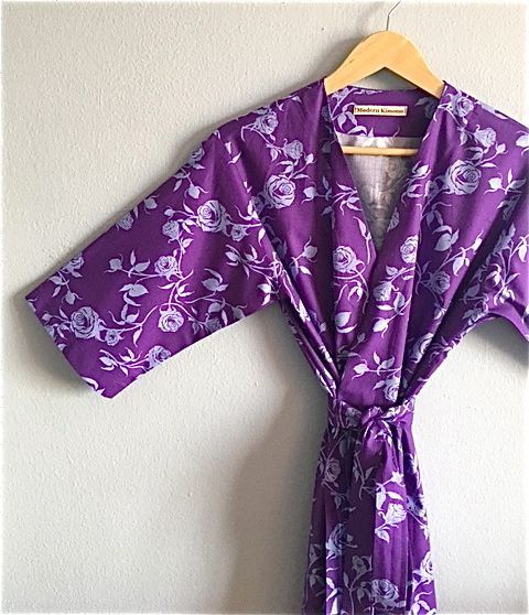 Purple Bridesmaids Robes. Purple Floral by ModernKimonoRobes