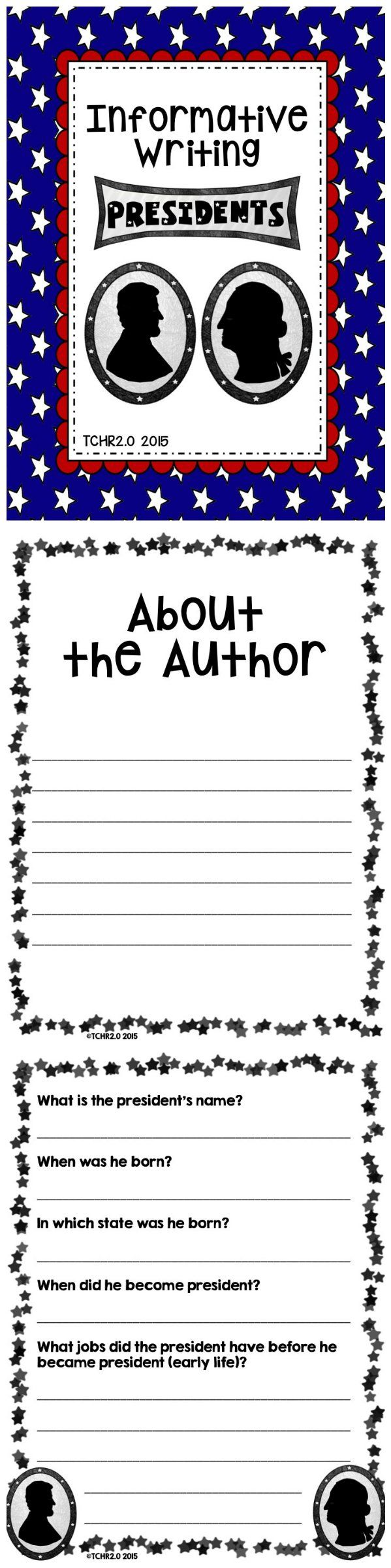 You can use this unit with your students so they can learn about a President of the United States. Students must create an about the author page, find specific information about a president, draw a picture of the president and include a caption, and make a bibliography.