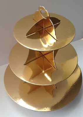 Expediate 3 Tier Cupcake Stand Cardboard Gold Wedding Party Cake Cookie Shiny