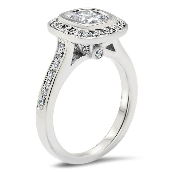 Cushion Cut Diamond Bezel Set Engagement Ring - Betty
