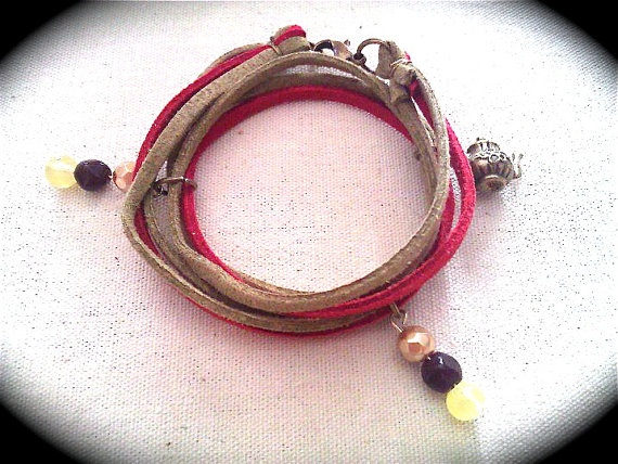 New For Christmas Wrapped Suede Bracelet with by TimeLapseJewelry, $15.00