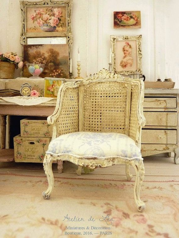 French Toile De Jouy, Armchair In Wood, Imitation Cane, Shabby Antique  White, French Dollhouse Furniture In Th Scale