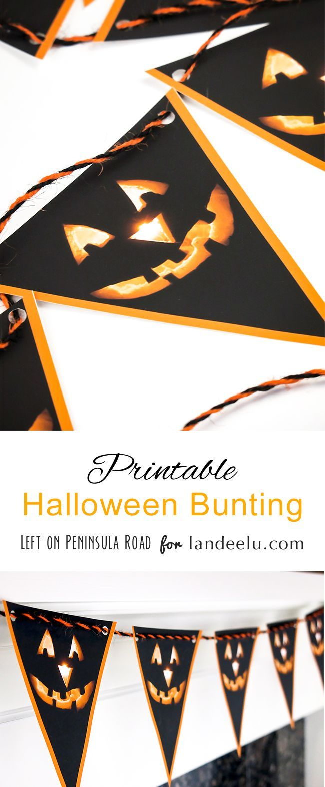 FREE Printable Jack-o'-lantern Halloween Bunting Decoration