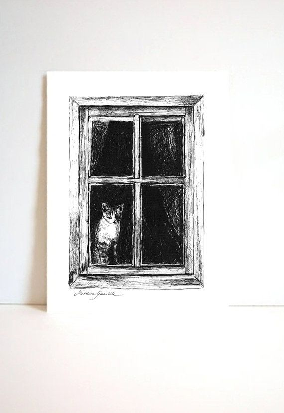 CAT AND WINDOW -  Fine Art Print after an original drawing by Milena Gawlik, Black & White