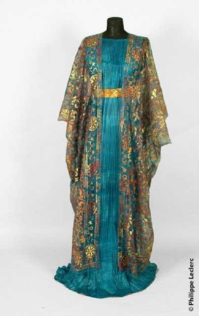 Fortuny Delphos pleated dress w/ burnout velvet over piece  --  Acquired Objects: Fortuny Final: Silk Velvet