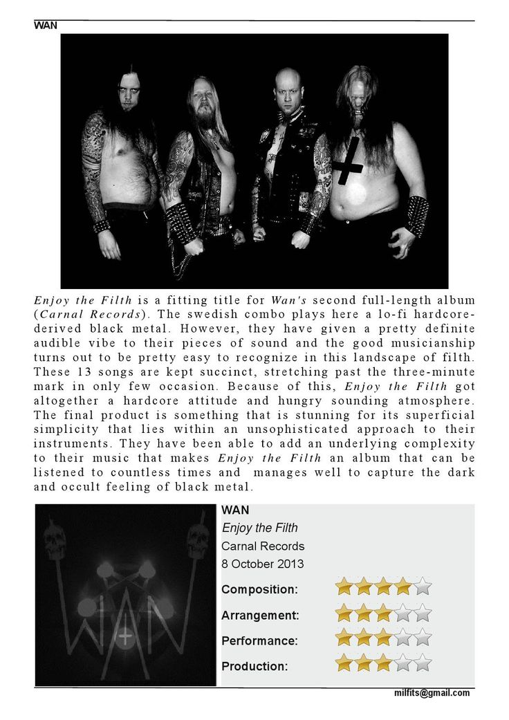 """CD Review: #WAN """"Enjoy the Filth"""" #MILFITS 'zine (issue#3)"""