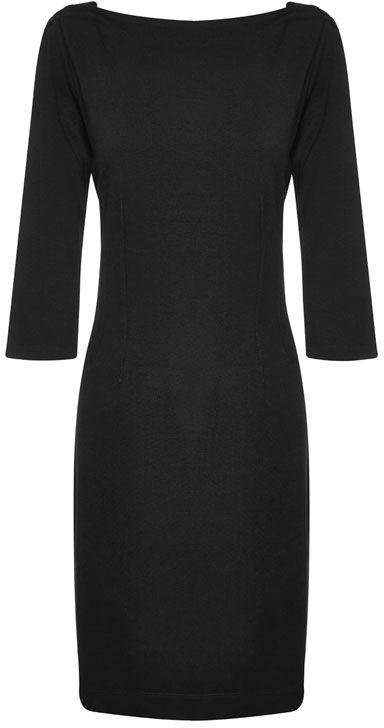 Liz Jordan Ponti Dress $199.95 AUD  3/4 sleeve ponti high neck little black dress with stitch panel detail, back zipper for fastening, 95cm in length Viscose/Nylon/Elastane Lining: Polyester/Elastane Dry Clean Only  Item Code: 046477