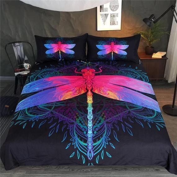 Dragonfly Mandala Quilt Cover Dragonflies Duvet Cover Purple Etsy Bedding Set Bedding Sets Bed Duvet Covers