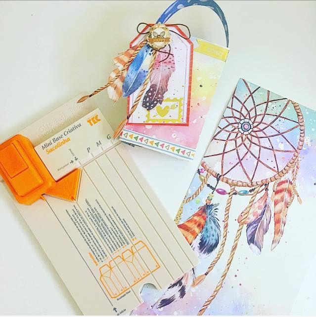 mini base criativa sacolinha e papéis decorados