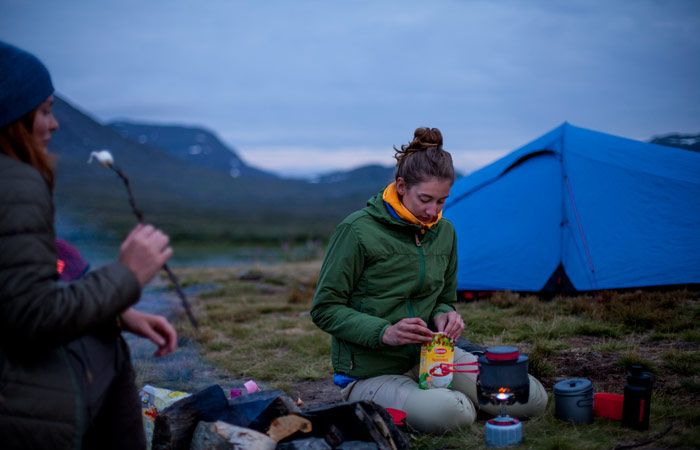 After hours of walking in mountain terrain - a hot drink and some marshmallows are well deserved.