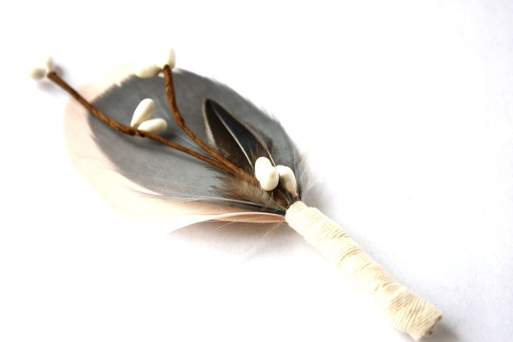 Mens wedding boutonnieres Lapel Pin - boutonniere - Nude and Grey feathers - Dapper Men, Dandy, Wedding Groom by TheGreyDeer on Etsy