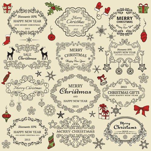 Set Of Christmas Design Elements Stock Vector Illustration 116350681 Shutterstock