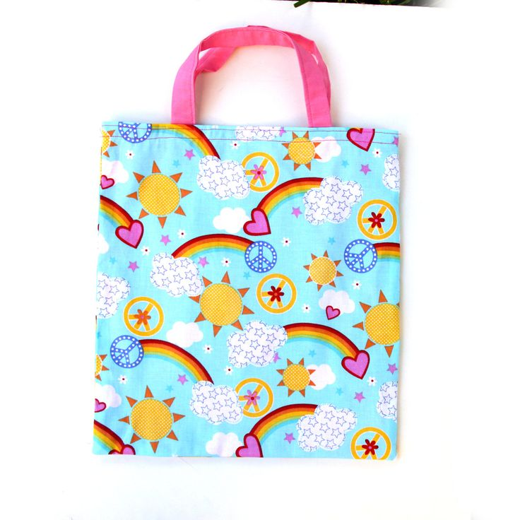 Kids Bags - Children's Bag - Tote Bags for Kids - Girls Bags - Blue Pink Lined Bag - Rainbow Bag - Handmade Kids Bags  - Made in USA - Gift by illubyludy on Etsy