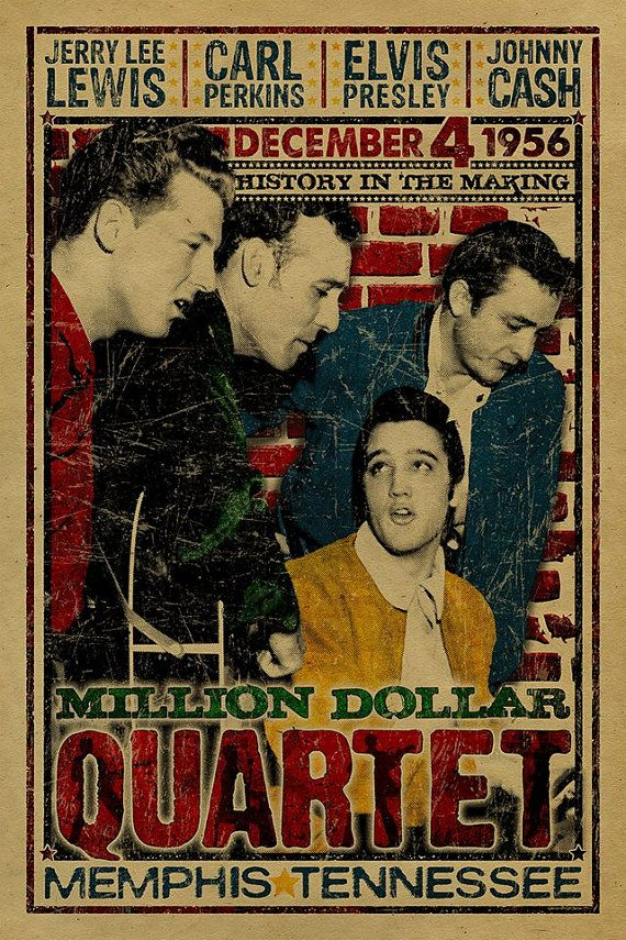 The Million Dollar Quartet poster. Johnny Cash. Jerry Lee Lewis. Elvis Presley. Carl Perkins. 1956.12x18. Music. Kraft paper. Memphis. Art.                                                                                                                                                                                 More