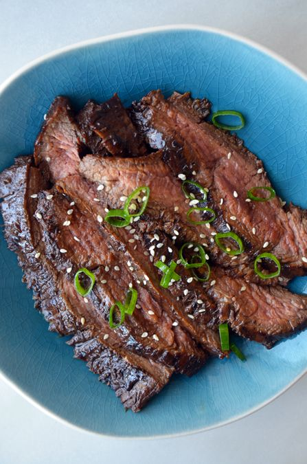 The Ultimate Asian Flank Steak by justataste: t's hard to beat the classic combination of soy sauce and honey when it comes to steak marinades. But toss in garlic, ginger, scallions and a splash of balsamic vinegar (my secret ingredient), and you've just whisked together the best-ever bath for your favorite cuts of beef. #Beef #Flank_Steak #Asian