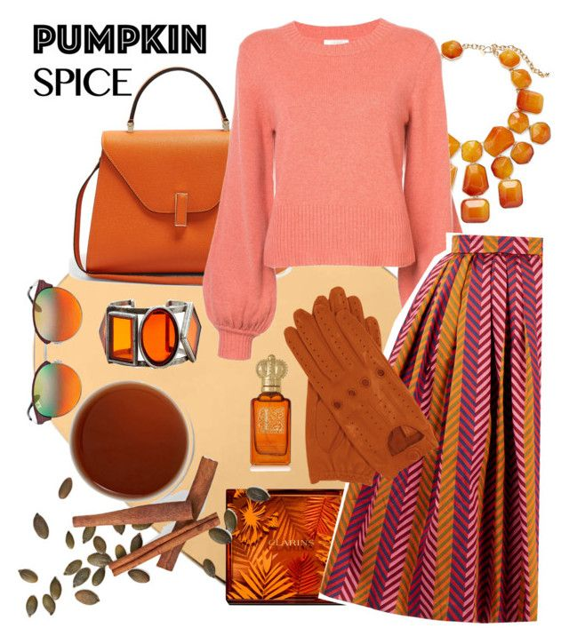 """""""Pumpkin spice!"""" by onyourback on Polyvore featuring Valextra, Kenneth Jay Lane, Clarins, Chloé, House of Holland, Ray-Ban and Clive Christian"""