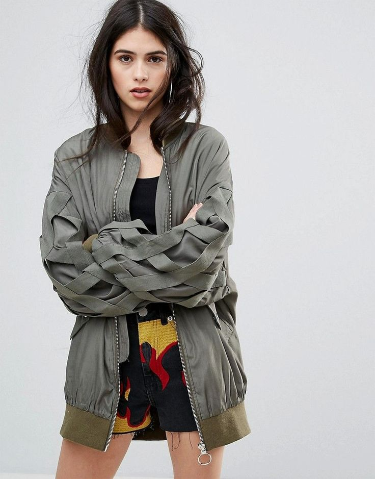 Missguided Khaki Bandage Detail Bomber Jacket - Green