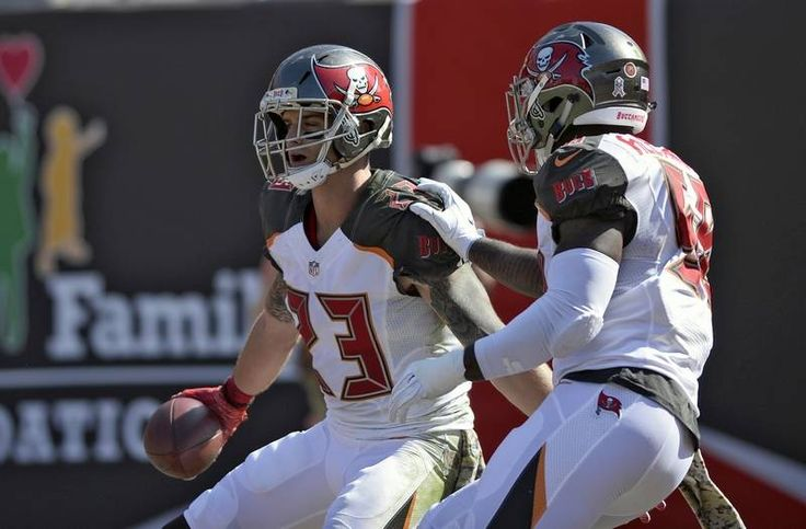 Bears. vs. Buccaneers:  36-10, Buccaneers - November 13, 2016:    Tampa Bay Buccaneers strong safety Chris Conte (23) celebrates with middle linebacker Kwon Alexander (58) after Conte returned an interception by Chicago Bears quarterback Jay Cutler for a touchdown during the first quarter of an NFL football game Sunday, Nov. 13, 2016, in Tampa, Fla.