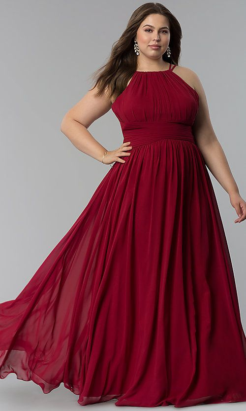 083f7298a7ee High-Neck Ruched-Waist Long Plus-Size Prom Dress in 2019 | Maxi ...
