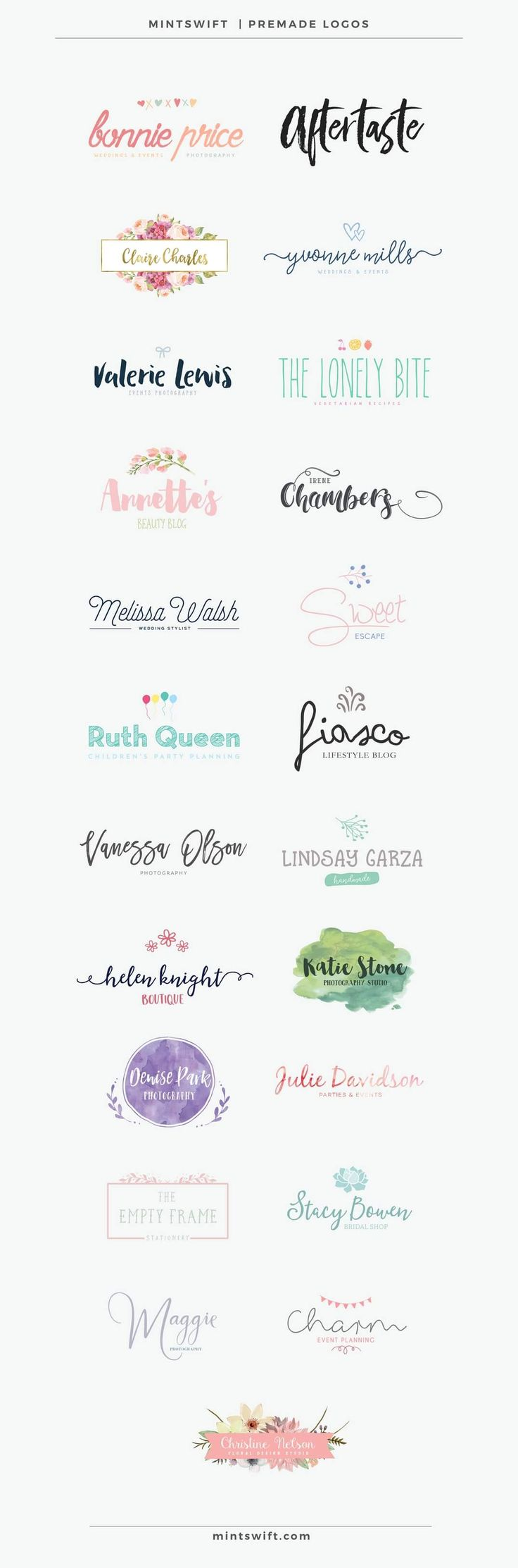 10 New Premade Logos Now In MintSwift Shop