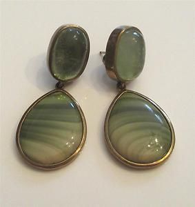 Stephen Dweck OOAK Drop Earrings Green Aquamarine & Jasper Bronze Bezel Set