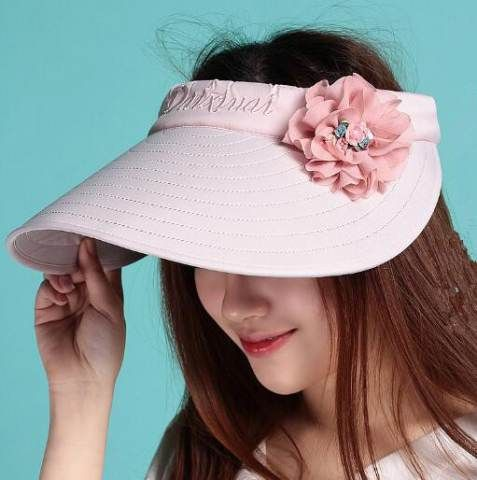 Flower visor hat for women summer wide brim sun hats