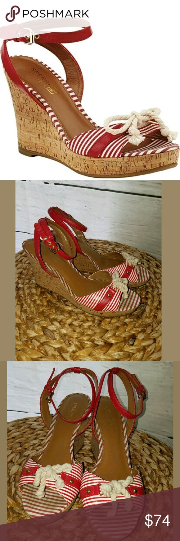 Sperry Top-Sider Portsea Platform Wedge Shoes Sperry Top-Sider Portsea Platform Wedge Striped Rope Heels Red White 9.5  Excellent used condition. Very Lightly worn.  LB Sperry Top-Sider Shoes Wedges
