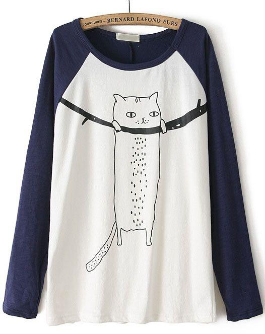 Navy Contrast Long Sleeve Cat Print T-Shirt EUR€16.87