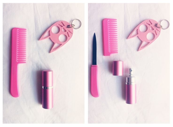 "Along with the cat ears... you have your hair comb knife and your lipstick pepper spray.. That goes on my ""need"" list 