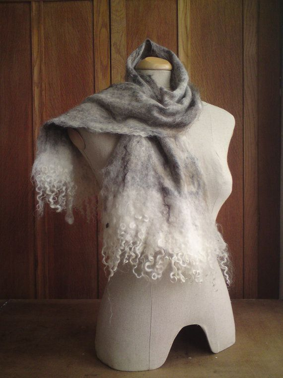 Handmade Felted Mixed Wool Scarf with Mohair by loveablefelts, £29.00