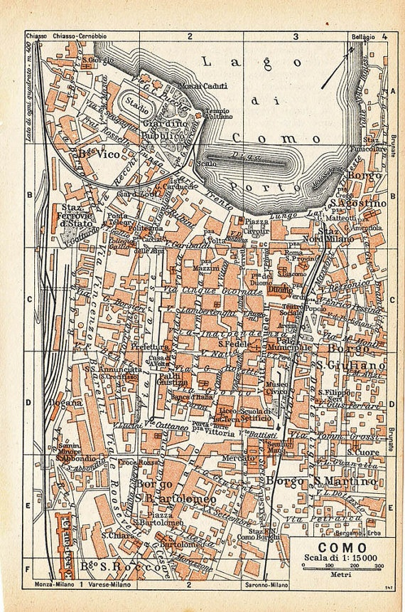 Como Vintage Street Map | City maps | Map, City maps, Old maps