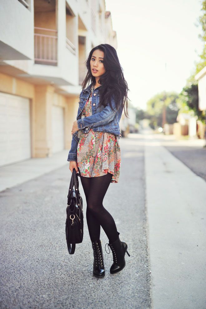 Denim Jacket, Floral Dress, And Tights  Fashion, Fall