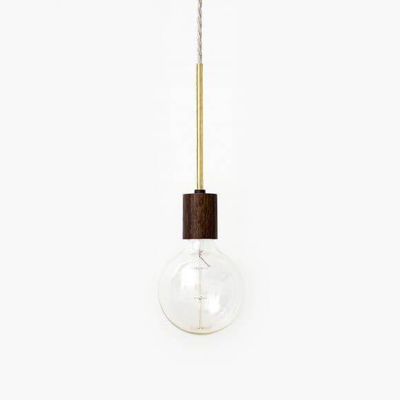 Pendel lamp donker eiken en messing van Roon & Rahn