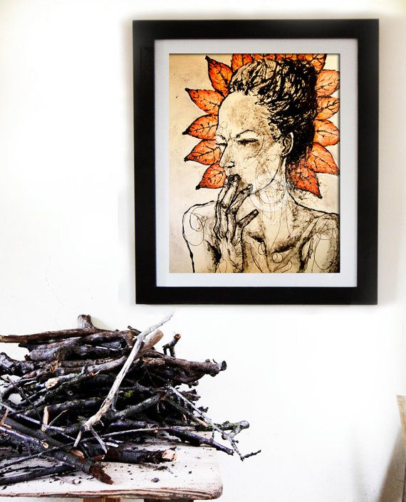 """Limited Edition Art Print, 8"""" x 12"""",  LADY IN LEAVES  €26.10  AVAILABLE HERE: https://www.etsy.com/ie/listing/218046335/limited-edition-art-print-8-x-12-lady-in?ref=shop_home_active_2"""