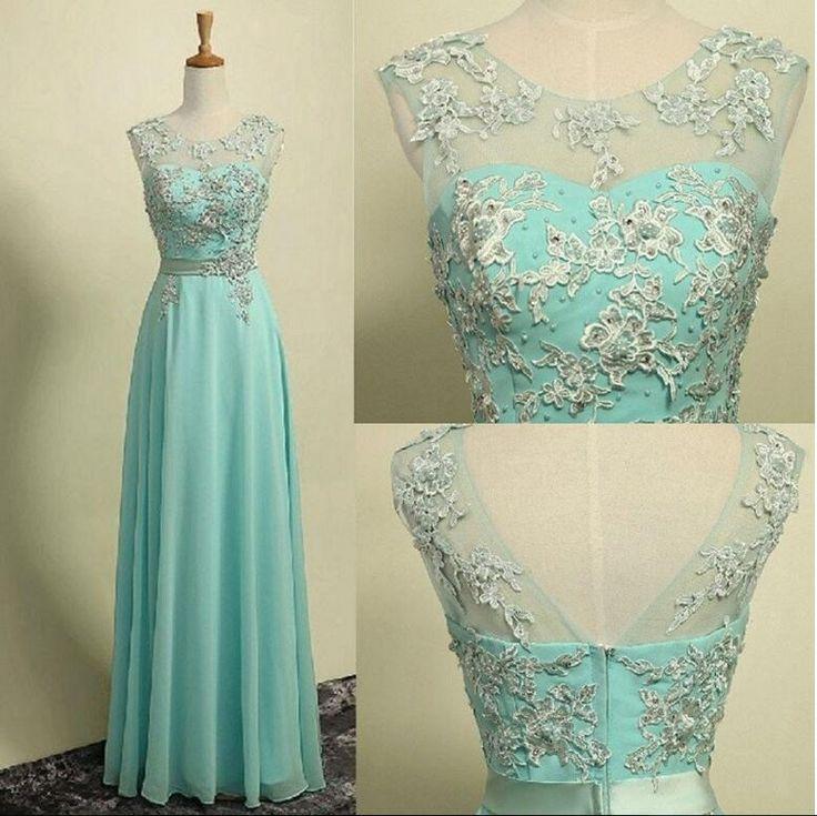 A-line Illusion Neck Sleeveless Appliqued Floor Length Aqua Chiffon Long Bridesmaid Dresses,Prom Dresses