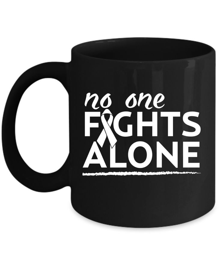 """Take a stand with this Lung Cancer Awareness item with """"No One Fights Alone"""" quote/saying and white ribbon image. Together we will win."""