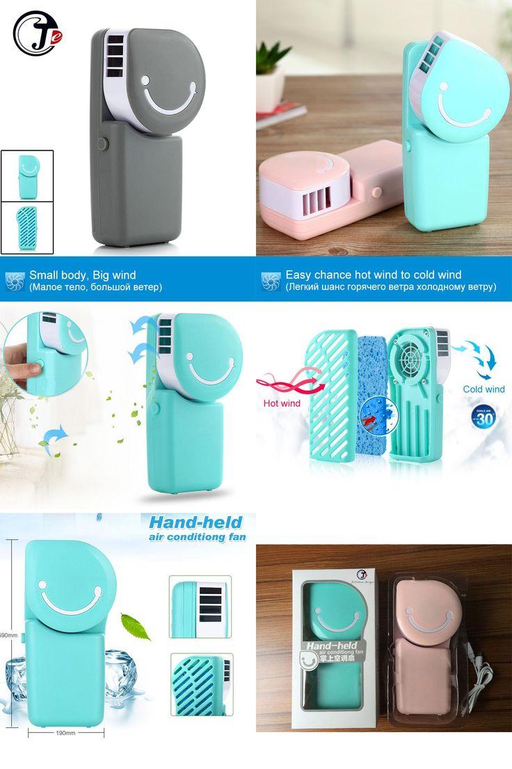 [Visit to Buy] Fashion Smile Rechargeable No Leaf  USB MINI Fan  Silence Ventilador Desktop Air Conditioner Fan Controller Ventilador De Mesa #Advertisement