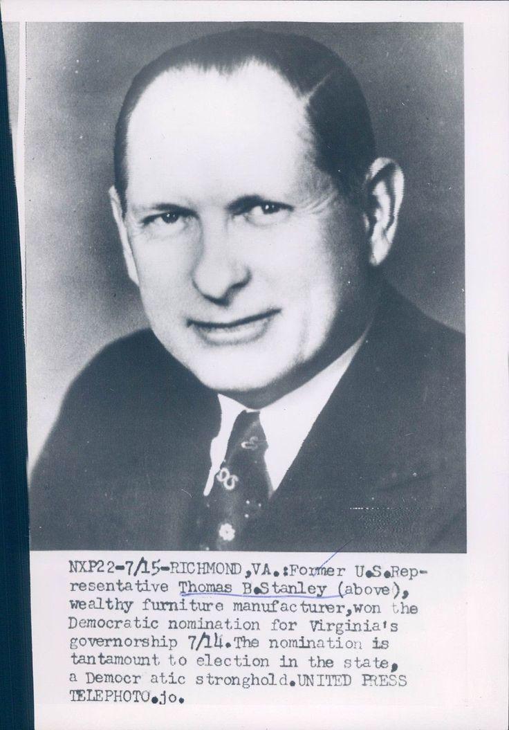 1953 Photo Thomas B Stanley US Representative Richmond VA Furniture Business
