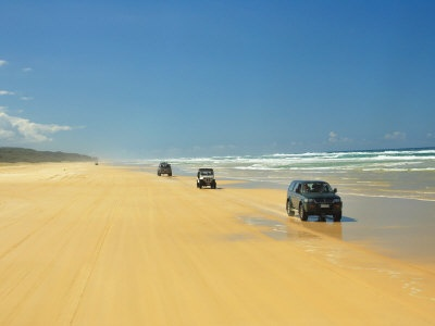 Fraser Island Austrailia. Driving on the beach is easy compared to driving inland!!