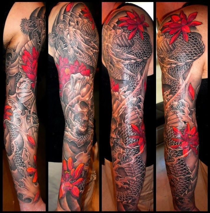 Japanese Style Sleeve Tattoo Flowers Koi Samurai: Japanese Dragon Tattoos, Japanese