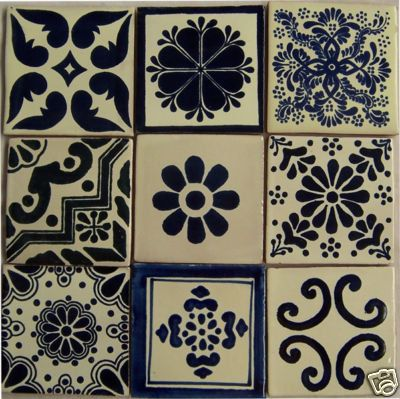 Pintado a mano 9 mexicana Talavera azulejos 4 x 4 por Casadaya